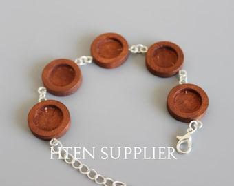 5pcs Handmade wood bracelet settings,12mm Bezel bracelet blanks ,wood bracelet Base,bracelet trays