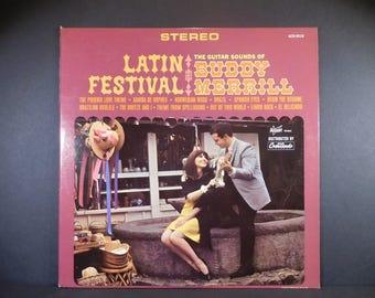 Latin Festival: The Guitar Sounds Of Buddy Merrill  1966 Vinyl LP / Instrumental / Brazilian Ukulele / Spanish Eyes / Brazil / Percussion