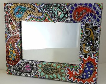Boho Mirror - Hand Painted Wall Mirror - Paisley 1968 - One of a Kind Mirror! 6 x 8 Frame 4x6 Mirror