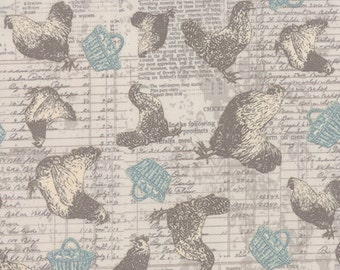 Once Upon a Chicken by Mary Jane Butters for Moda Fabrics -- #11630-18 -- Chickens on Light Gray Script -- 100% Cotton