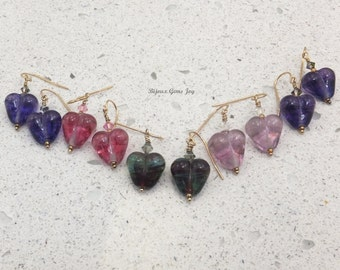 Earrings, My Heart Too, Lampwork Glass, Swarovski Crystals, 14 Kt Gold Filled Wires E17016-20