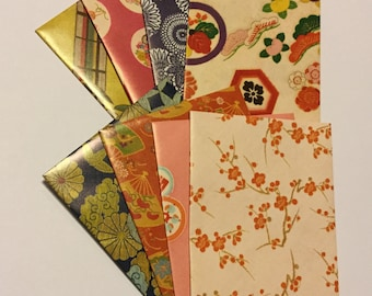 Traditional Japanese envelopes, japanese stationery, snail mail  japanese style, handmade small envelopes, set of 8, patterned, spring
