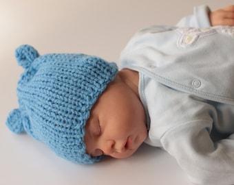 Newborn Knitted Hat, Newborn Baby Boy Hat, 0 - 3 M Hat, Baby Shower Gift, Hand Knit Hat, Cornflower Blue