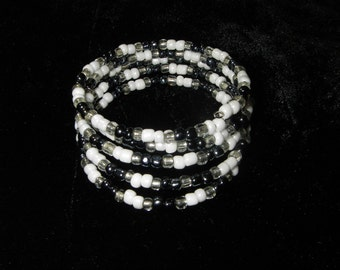 Spiral Beaded Memory Wire Bracelet