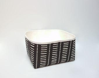 Black fabric storage basket, Modern storage bin, Bathroom storage, Medium fabric basket, Panier, Organizer