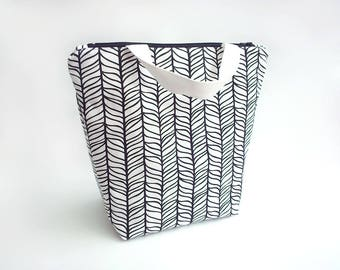 Lunch tote bag for women, Reusable lunch bag waterproof, Food bag, Black and white work lunch bag large, Sac a lunch, Modern lunch tote