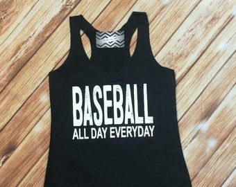 ON SALE Baseball all day. Baseball mom tank. Mom tanks. Triblend Tanks. Relaxed Fit Racerback Tank.