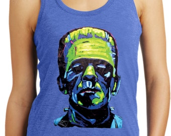 Ladies Frankenstein Face Racerback Tank Top 20719NBT2-DM138L