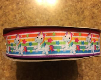Rainbow Unicorn Grosgrain Ribbon