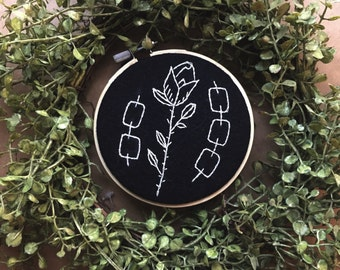 Chained Rose / Barbed Wire Embroidery Hoop