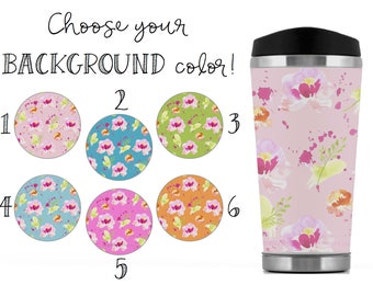 Colorful Floral Travel Mug, Colorful Floral Travel Tumbler, Colorful Floral Travel Cup, Colorful Floral Travel To-Go Mug, Colorful Florals