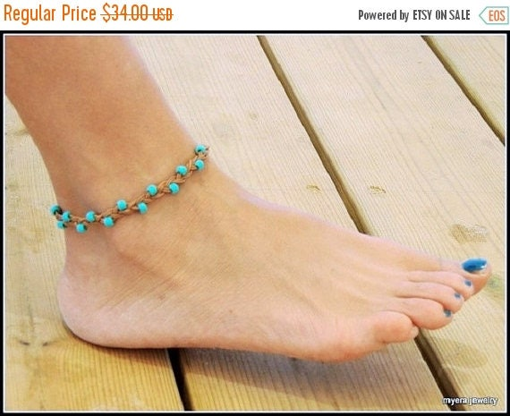 Free Shipping - Ladies Ankle Bracelet, Leather Beach Jewelry, Turquoise Anklet, Leather Ankle Bracelet, Foot Jewelry, BFF Gift, Festival Jew