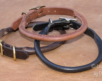 Rolled Water Buffalo Leather Dog Collar - handmade for your dog