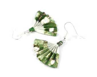 Japanese, green and gold origami fan earrings