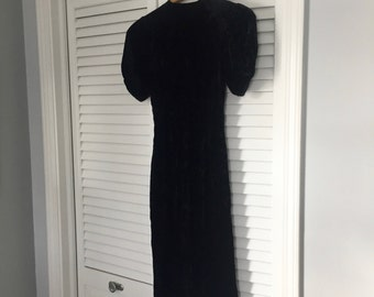 Vintage Black Velvet Dress - Button Down Dress - Little Black Dress - Size XS Dress - Crushed Velvet Dress