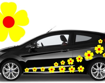 32,yellow & red flower car decals,stickers in three sizes