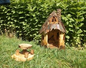 "Wooden fairy house ""Fairy hut"" feehaus gartendekoration pixie, gnome elf house"