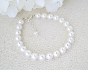 Swarovski 8mm pearl bracelet, Pearl wedding bracelet, Simple pearl bridal bracelet, Bridesmaid bracelet
