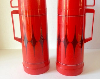 A Pair of Vintage 1970s Aladdin Thermos