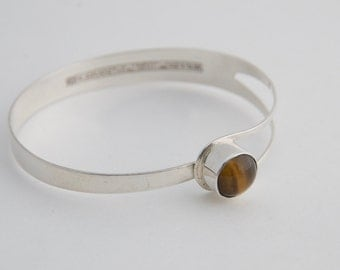 Erik Granit Finnish Sterling Silver and Tiger Eye Bracelet made in 1974 Finland