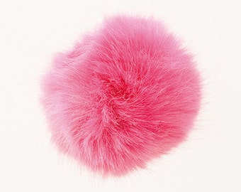 Pom Pom fake fur 10 cm diameter in colour pink for crazy bobble hats as keyring or for your mirror in the car pompom multipurpose