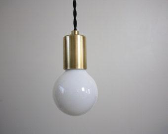 Simple Brass Pendant - Inez - Vintage cord light ceiling pendant light