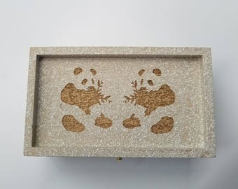 Desk organizer, 2 Panda Bears, Back to school, Laser Engraved Box, Treasure Box, Keepsake Box