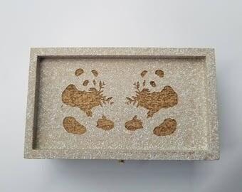 2 Panda Bears, Laser Engraved Box, Treasure Box, Keepsake Box