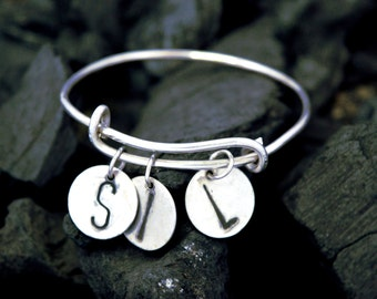 Stacking bangle, personalized bangle, personalized sterling silver bangle, mothers day gift,stackable Bangle,anniversary gift,handmade