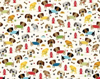 Rover Dog Park on Cream Fabric by Riley Blake C5211 / Dog Fabric / Dogs on Cream Fabric / C5211  / 1/2 Yards / By The Yard