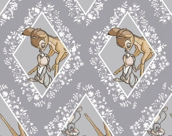 Bambi Fabric / Diamonds in Dark Grey Bambi Material / Disney Fabric for Camelot 85040102 #3 / By The Yard and Fat Quarter