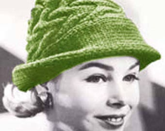 Knit Swagger Hat Vintage Knitting Pattern Fedora Hat Cap pdf