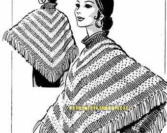 Knit Poncho with Turtleneck PDF Mail Order Vintage 1960s Boho Hippie Knitting Pattern