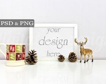 Styled Stock Photography Christmas Deer & Mug Horizontal Mockup Download Frame Empty Frame Product Digital Background Object Photo
