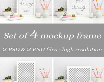 Set Styled Stock Photography Pink Gold Feminine Office Desk Mockup Download Frame Bundle Empty Art Frame Product Digital Background Object