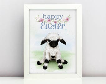 Easter Print Baby Blacknose Lamb Poster  Card Happy able Nursery Poster Adorable Baby Farm Animal Floral Wreath Spring Print