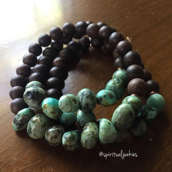 Stackable Mala Inspired Agarwood + Funky African Turquoise Nuggets Spiritual Junkies Yoga and Meditation Bracelet (single bracelet)