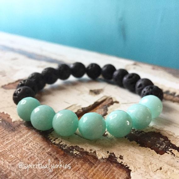 Stackable Spiritual Junkies Funky Chunky 10 mm Aqua Jade + Lava Bead Essential Oils Diffuser Yoga and Meditation Bracelet