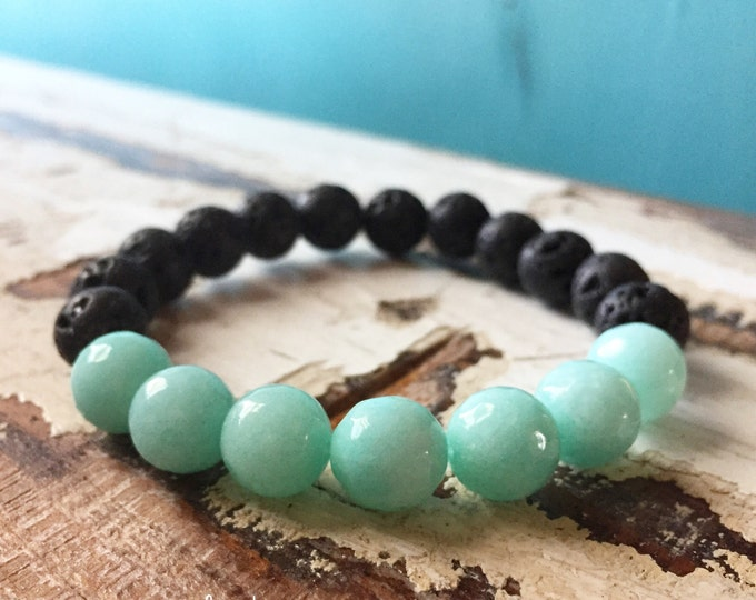 Stackable Spiritual Junkies Funky Chunky 10 mm Aqua Jade + Lava Bead Essential Oils Diffuser Yoga and Meditation Bracelet
