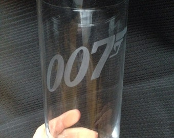 Glass etched 007 tumbler