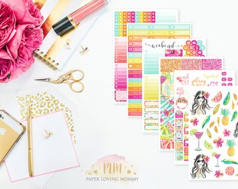 Summer Escape Weekly Kit | Planner Stickers designed for use with the Erin Condren Life Planner