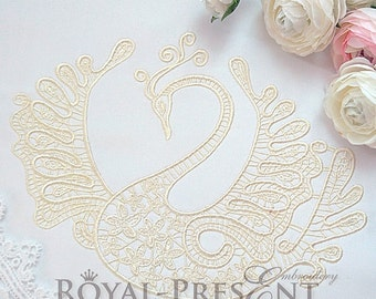 Machine Embroidery Design Lace Swan – 2 sizes