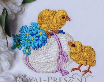 Easter Chicks machine embroidery design