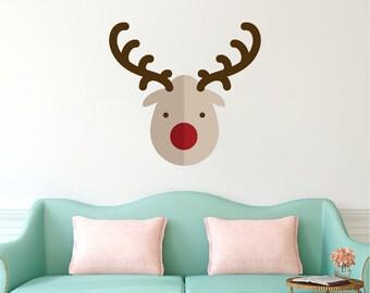 Christmas Reindeer Wall Decal Design Reindeer Wall Cling, Rudolf The  Rednosed Reindeer, Holiday Wall