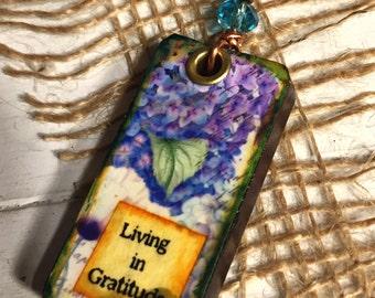 Flower Pendant - Domino Pendant - Domino Necklace - Domino Jewelry - Handmade Pendant - Resin Pendant - Living in Gratitude - Gift for Her