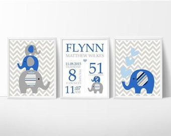 Baby, Kids Custom Baby Birth Print Wall Art ~ Set of 3