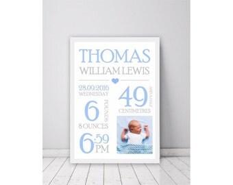 Personalised Baby Birth Print,  Birth stats poster, Nursery Wall Art, baby gift, newborn gift, Baby Keepsake, Custom Baby Birth Print