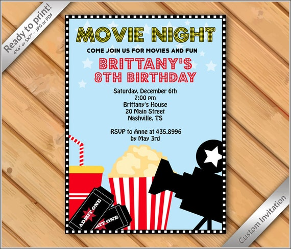 personalized invitation movie night invitation printable