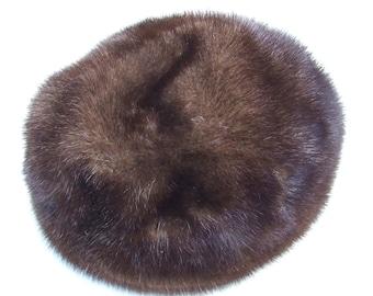 Vintage Brown Mink Fur Dome Hat, Cossack Hat - 1960's Real Mink Cap Hat, Vintage Head Wear For Small Heads, Stylish Hepburn Hat