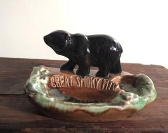 Vintage Smoky Mountain Black Bear Ashtray // Vintage Souvenir Ashtray